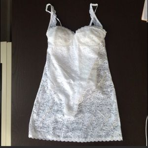 White lace slip with built in bodysuit NWOT